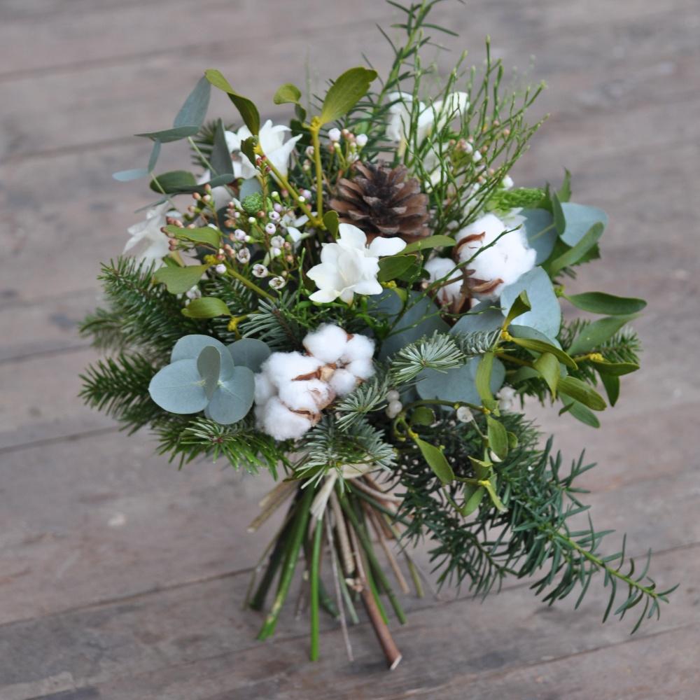 Zimní kytice s bavlníkem